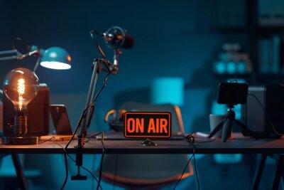 Obraz Live online radio studio with on air sign