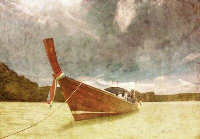 Obraz Łódź w tropikalnych morza w stylu grunge i retro