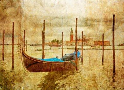 Obraz Łódź w Wenecji w stylu grunge