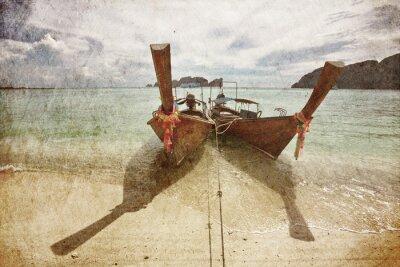 Obraz Łodzie na morzu tropikalnych w stylu retro