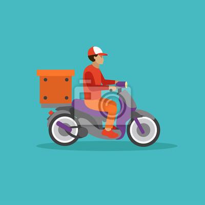 Logistyka i dostawa kurierem Koncepcja serwisu banner. Ilustracja wektora w stylu płaskiej konstrukcji. Deliveryman na skuterze wysyłki zamówień żywności.