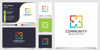 Obraz Logo group for community creative square concept and business card design Premium Vector