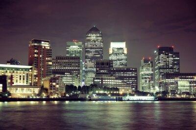 Obraz London Canary Wharf w nocy