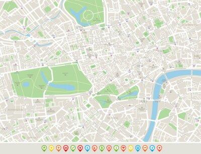 Obraz Londyn Mapa i ikony nawigacyjne. Mapa obejmuje ulice, parki, nazwy subdistricts, atrakcji turystycznych.