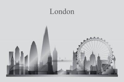 Obraz Londyn skyline sylwetka miasta w skali szarości