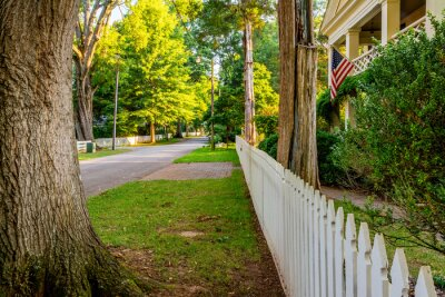 Obraz Look at rural small town America with a white picket fence and trees