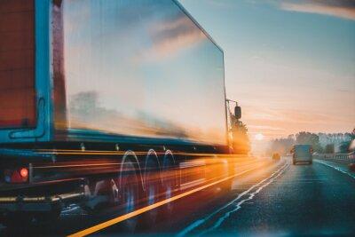 Obraz Lorry Cargo Transport Delivery in motion, United Kingdom M1 Motorway