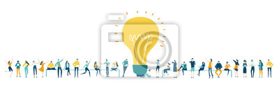 Obraz Lots of people around the big light bulb. Research, internet, big data idea, Availability of knowledge, Developing, taking a risk, support and solving the problem business concept illustration.