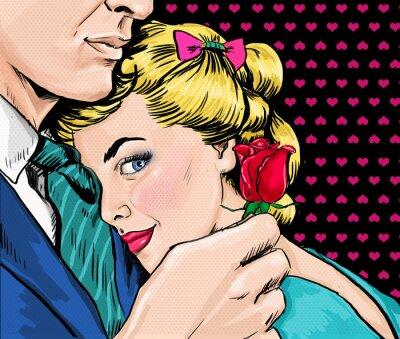 Obraz Love para. Kocham Cię. Tęsknię za Tobą. Kochanek