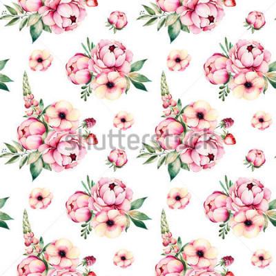 Obraz Loveley Bez użycia deseń z kwiatów, piwonie, liści, gałęzi, łubin, malin, truskawek i więcej.Perfect dla projektu, ślub, karty z pozdrowieniami, zdjęcia, blog, tapeta, wzór, tekstura, okładka.