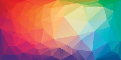 Obraz Low poly triangular background in bright rainbow colors. Colorful polygonal banner template. Multicolor backdrop in origami style. Vector eps8 illustration with irregular triangles.