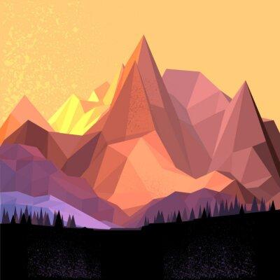 Obraz Low Poly Vector Mountain