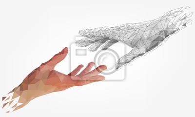 Obraz Low polygonal hands, human and robot arms, partnership of people and robots, computer graphics