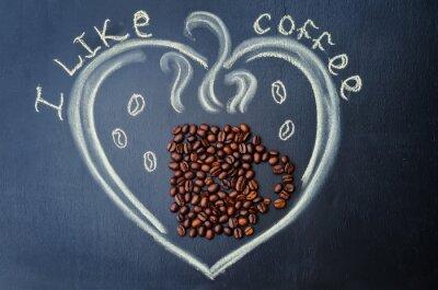 Obraz Lubię kawę z ziaren kawy
