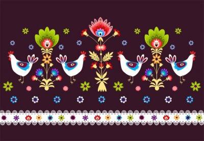 Obraz ludowy Wzór z ptakami na ciemnym TLE