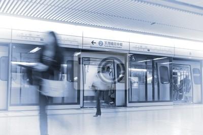 ludzie rozmycie na stacji kolejowej, Hong Kong