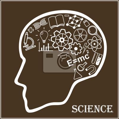 Ludzka głowa i ikony nauki. Pojęcie odkryć naukowych. Proces edukacji i uczenia się. Ilustracja wektorowa w stylu liniowym.