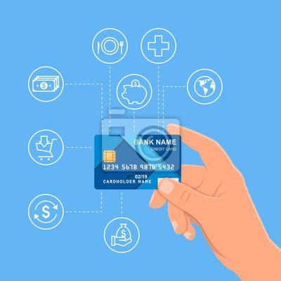 Ludzka ręka trzyma w banku kartę kredytową. ilustracji wektorowych finansowe i pieniądze płatności koncepcja w stylu płaskiej
