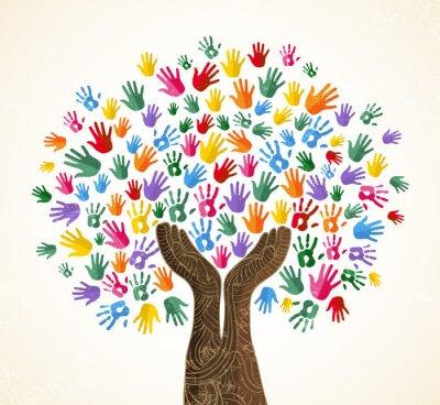 Obraz Ludzki ręki drzewo dla kultury różnorodności pojęcia