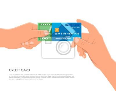 Ludzkiej dłoni trzymającej bankowej karty kredytowej i gotówki. Finansowe koncepcji płatności ilustracji wektorowych w stylu płaskim