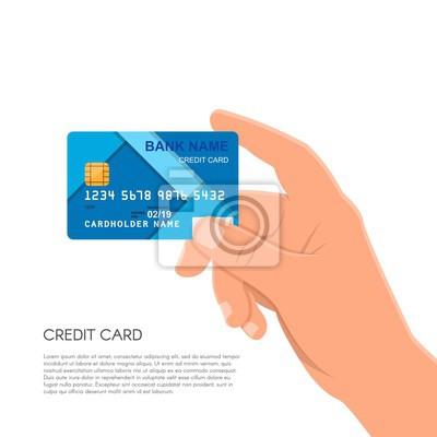 Ludzkiej dłoni trzymającej kartę kredytową banku. Finansowe i pieni? Dzy p? Asno? Ci koncepcji ilustracji wektorowych w stylu p? Aski