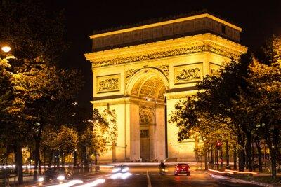 Obraz Łuk Triumfalny w nocy, Paryż, Francja.