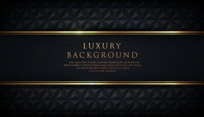 Obraz Luxury black stripe with gold border on the dark background. VIP invitation banner. Premium and elegant. Vector illustration.