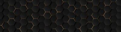 Obraz Luxury hexagonal abstract black metal background with golden light lines. Dark 3d geometric texture illustration. Bright grid pattern. Pure black horizontal banner wallpaper. Carbon elegant wedding BG