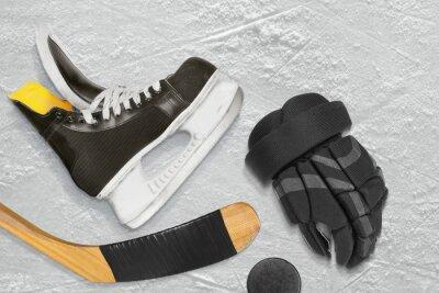Obraz łyżwy hokejowe, kij i krążek, rękawice