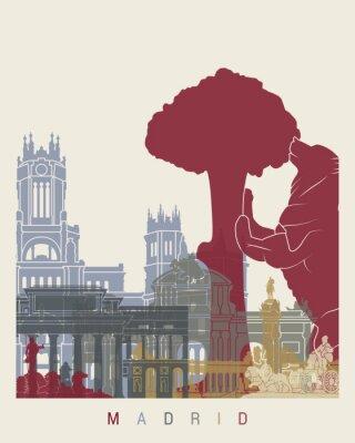 Obraz Madryt Skyline Plakat