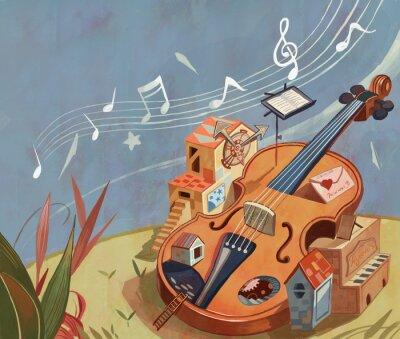 Obraz Magic, fantasy, fantasy, dreams, imagination, fairy tales, myths, children, literature and art, illustrations, cello, musical instruments, music, performance, music score, notes, illustrations,
