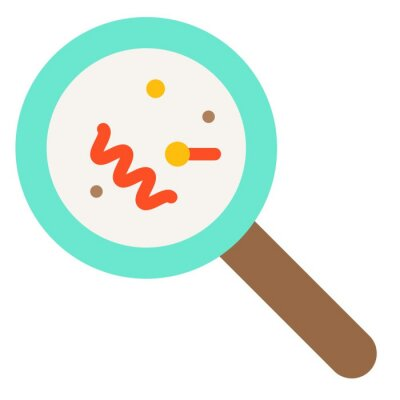 Magnify glass with bacteria vector illustration, flat style icon