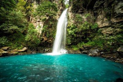 Obraz Majestatyczny wodospad w dżungli lasów tropikalnych Kostaryki. Wodospad La Cangreja w Parku Narodowym Rincon de La Vieja, Guanacaste