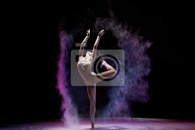 Obraz Majestic dancing woman in colorful flying powder
