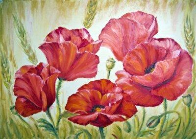 Obraz Maki w pszenicy, obraz olejny na płótnie