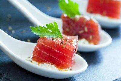 Obraz Makro bliska tuńczyka kąsek.