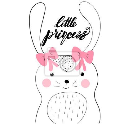 Mała księżniczka karty z cute bunny