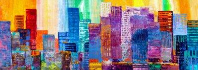 Obraz Malarstwo abstrakcyjne miejskich drapaczy chmur.
