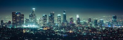 Obraz malownicze widoki drapaczy chmur Los Angeles w nocy, Kalifornia, USA.