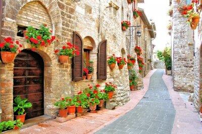 Obraz Malowniczy pas z kwiatami we włoskim wzgórzu miasta