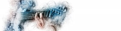 Obraz Man holding playing a guitar, blue brown color image with digital effects sketch silhouette on white panoramic background copy free space for your conceptual advertisement text