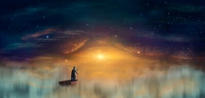Obraz Man in cowl, magician floating on ship in clouds at sunset sky with stars. Digital painting, 3D rendering