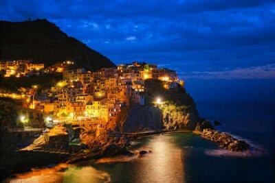 Obraz Manarola village n the night, Cinque Terre, Liguria, Italy