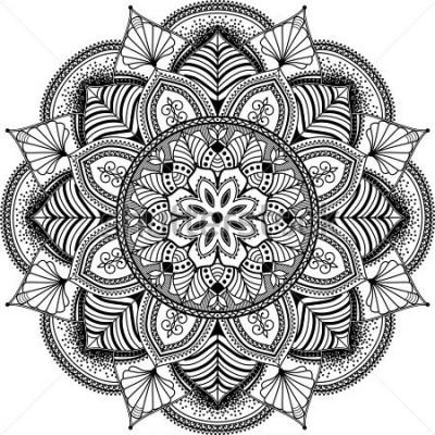 Obraz mandala, bardzo kompleksowa ilustracja inspirowana zentangle, etniczne plemienne motywy tatuażu, czarno-białe