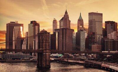 Obraz Manhattan and Brooklyn Bridge at sunset, color toning applied, New York City, USA.