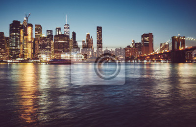 Manhattan at blue hour, color toned picture, New York City, USA.