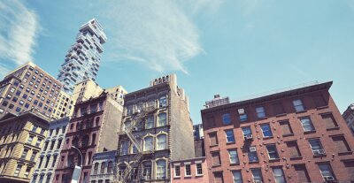Manhattan diverse architecture, color toning applied, New York City, USA.