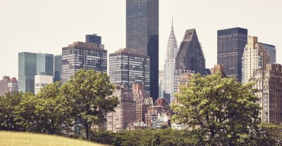 Manhattan East Side seen from Roosevelt Island, color toned picture, New York City, USA.