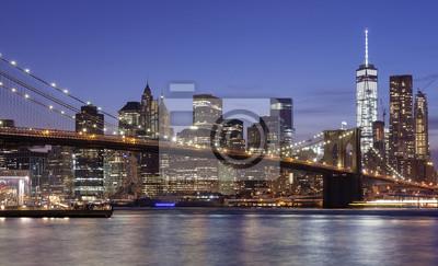 Manhattan nabrzeża w nocy, Nowy Jork, USA