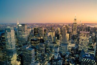 Obraz Manhattan New York City Skyline o zmierzchu Pejzaż